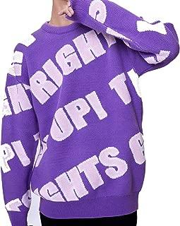 Men's Letter Jacquard Long Sleeve Pullover Sweater