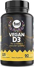 Fuel Organics Vegan Vitamin D3 Supplement? 5000 IU?Best Plant Based & Organic Pure D3 Supplements?Gluten Free?90 Capsules?Free of Sugar, Wheat, Dairies, Artificial Flavors & Colors.