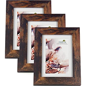 Scholartree Wooden Brown 5x7 Picture Frame 3 Set in 1 Pack or 5x7 Frame or 11x14 Photo Frame