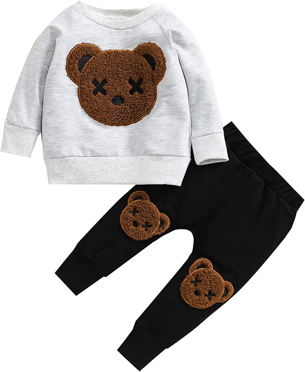 Toddler Kid Baby Boy Clothes Bear Long Sleeve Sweatshirt Top Fuzzy Patch Pants Sweatsuit 2PCS Fall Winter Outfits Set