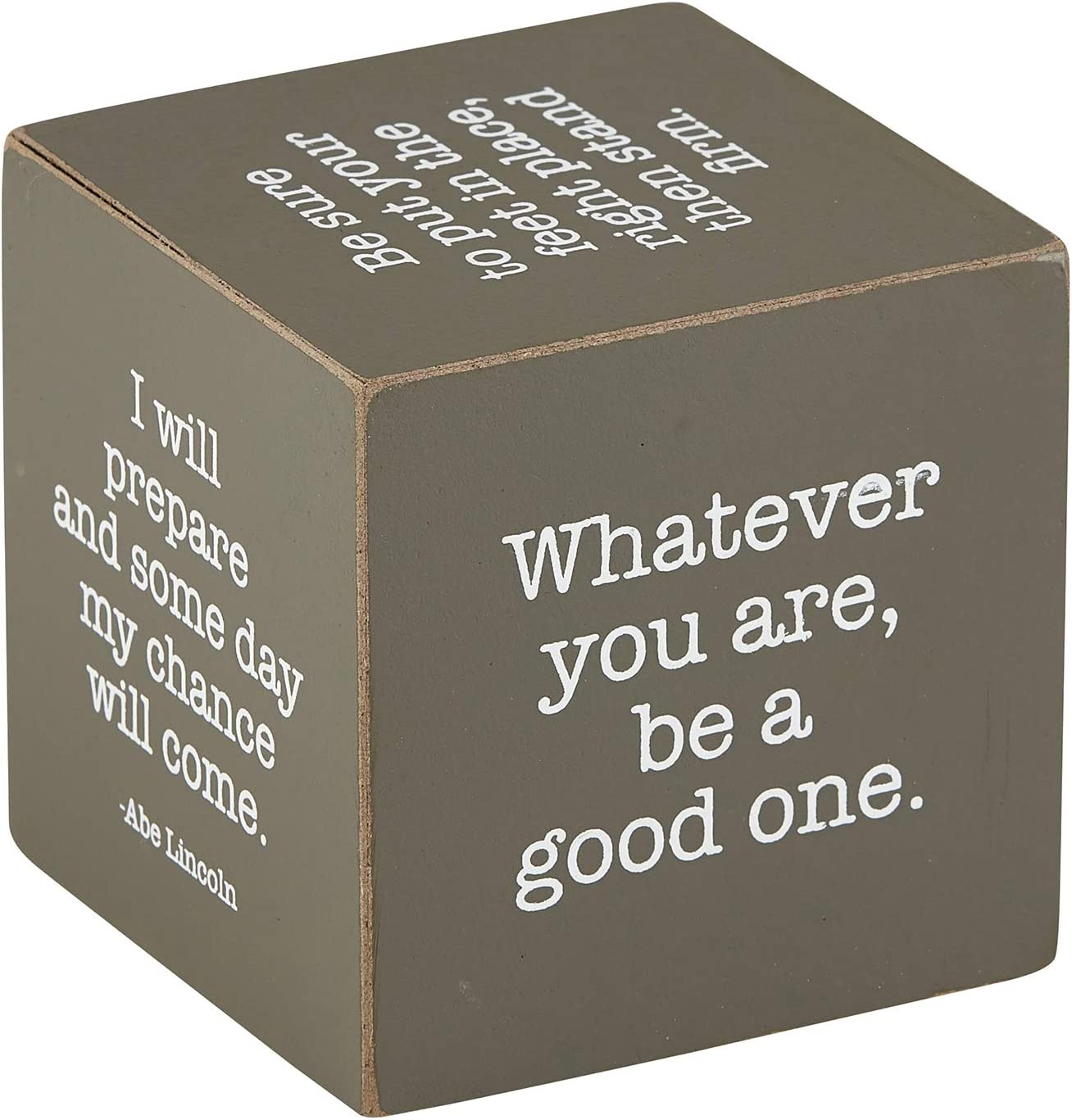 Creative Brands Well Said Wooden Quote Max 86% OFF Las Vegas Mall Lin x 3-Inch Cube 3 Abe