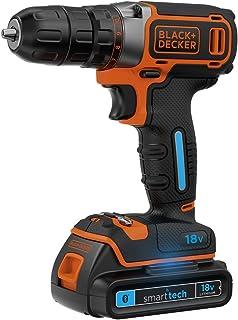 BLACK+DECKER BDCDC18KST-GB 18 V 锂离子钻机,带智能技术电池 - 黑色/橙色
