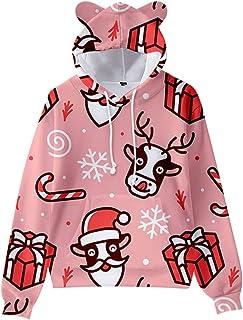 SUIWO Funny Hoodie Pullover Cat Ear Hooded Sweatshirt Kids Christmas Tracksuit Coat Loose Fit Long Sleeve Santa Claus Snow...