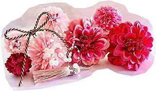 Flora・Angelique 髪飾り10点セット 着物 卒業式 和装 袴 成人式 結婚式 浴衣 七五三 (ピンク×濃いピンク)