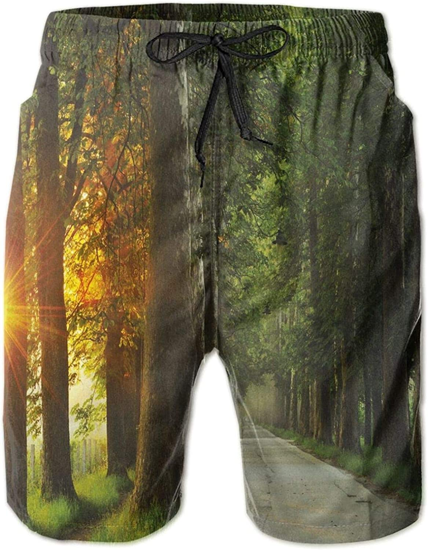 Fresh Idyllic Morning Scenery Woods with Rising Sun Peaceful Countryside Mens Swim Trucks Shorts with Mesh Lining,XXL