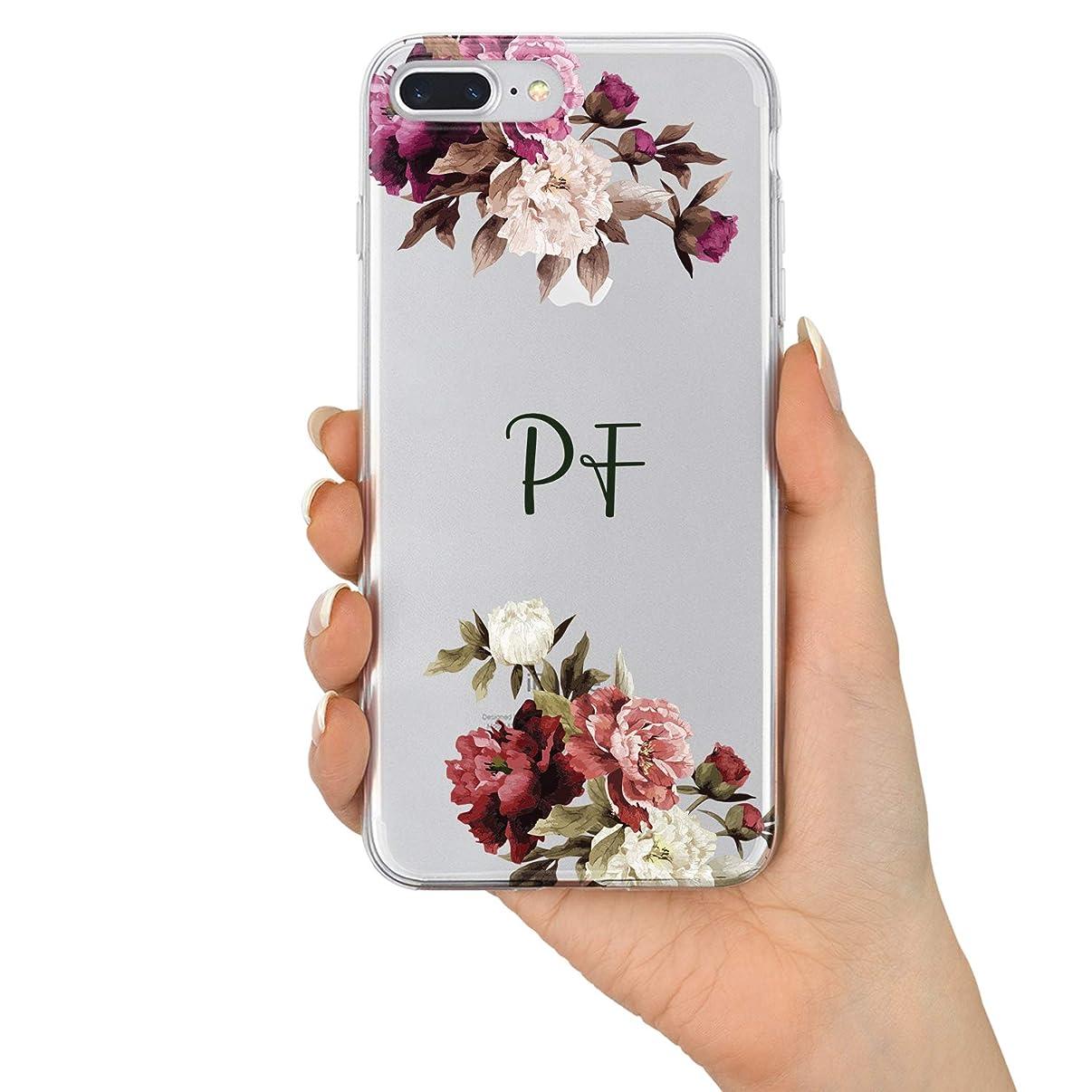 TULLUN Custom Floral Design Personalized Name Initials Monogram Flexible Clear Soft Gel Phone Case Cover for iPhone - Floral Initials V3 - for iPhone 6 / 6s