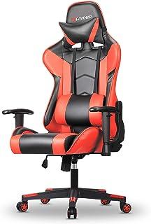 mfavour Chaise Gamer, Fauteuil Gamer, Chaise Gaming en Cuir, Chaise de Bureau Ergonomique avec Appui-tête et Oreiller Lomb...
