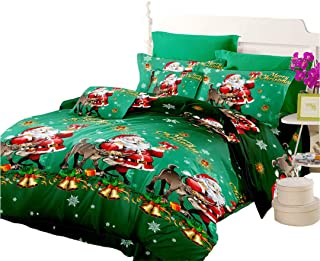 Quilt Cover Full Size, Cartoon Christmas Decoration Duvet Cover Full Size, Green Santa Claus Bedspread Full Size Bedding Set for Kid's Bedding Room