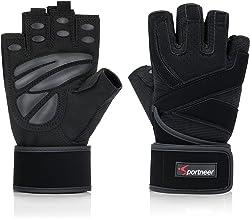 Gewatteerde gewichtheffen handschoenen, gymhandschoenen, trainingshandschoenen, met ingebouwde 19 inch polswraps, training...