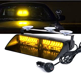 Xprite Amber Yellow 16 LED High Intensity LED Law Enforcement Emergency Hazard Warning Strobe Lights For Interior Roof/Dash/Windshield With Suction Cups