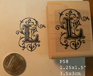 Letter L monogram rubber stamp P58