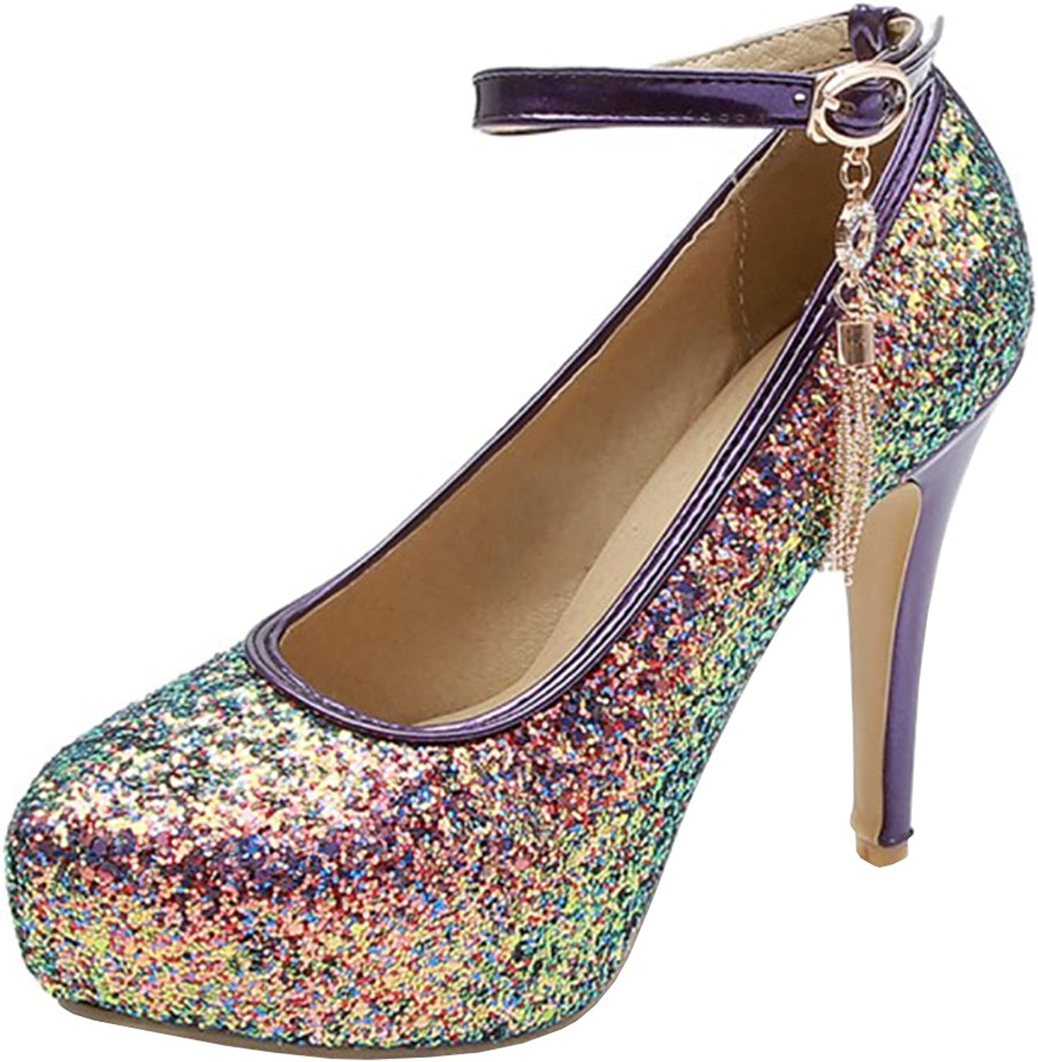 Atyche Women's High Heels Mary Janes Ankle Strap Pumps Glitter Platform Stiletto Evening Party shoes