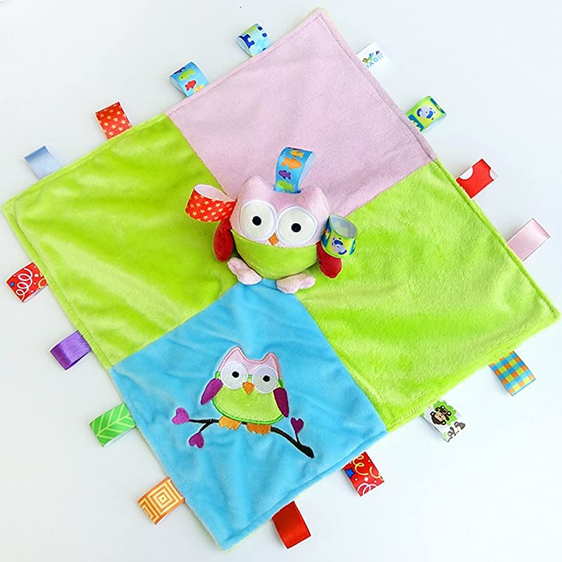 INCHANT Taggies Security Blanket Soft Taggy Blankit Toy For Baby Boys Girls Lovey Plush Sensory Toy Soothes And Provides Security For Infants Owl