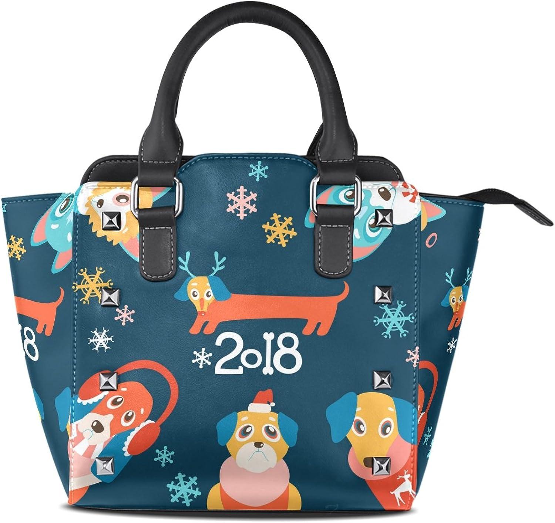 My Little Nest Women's Top Handle Satchel Handbag 2018 Cute Cartoon Dogs in Winter Clothes Ladies PU Leather Shoulder Bag Crossbody Bag