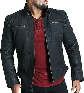 Laverapelle Men's Genuine Lambskin Leather Jacket (Black, Biker Jacket) - 1501344