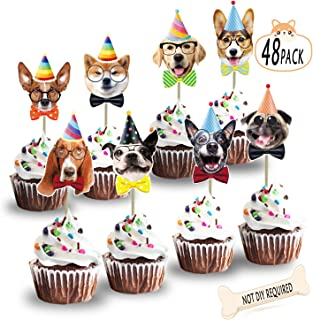 Dog Birthday Cake Topper Decorations Garland Dog Theme Cupcake Toppers Bday Decor Party Supplies