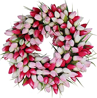 The Wreath Depot Pink and White Tulip Front Door Wreath, 19 Inch, Stunning Silk Front Door Wreath, Valentines Day Wreath, Extremely Full Design, Beautiful White Gift Box Included