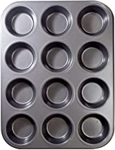 Elonsey 12 Cups Muffin and Cupcake Pan, Nonstick Cake Pan, Carbon Steel bakeware for Oven Baking Gray