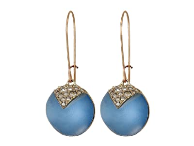 Alexis Bittar Crystal Encrusted Origami Inlay Dangling Sphere Kidney Wire Earrings (Horizon Blue) Earring