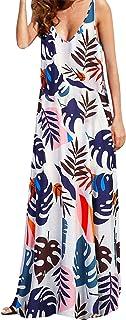 Kidsform Vestito Lungo Donna Estivo Manica Corta Bohemian Chic Maxi Spiaggia Dress Girocollo Floral Colore Solido Taglia L...