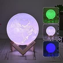 مصباح LED ثلاثي الأبعاد مطبوع عليه Goolsky 3 ألوان قابل للتبديل (أبيض/أخضر/أزرق) درجة سطوع قابلة للتعديل تعمل باللمس، شحن USB مع حامل خشبي 20 سم/7. 9 بوصات 8cm