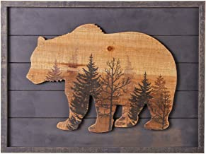 NIKKY HOME Cute Bear in The Forest Decorative Wood Framed Wall Art Prints Cabin Decor, 16