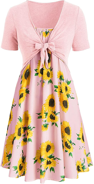 ORT Summer Dresses for Women Beach, Sexy Boho Heart Print Mini Dress for Womens Slim Fit Dresses Girls Short Dress Streetwear