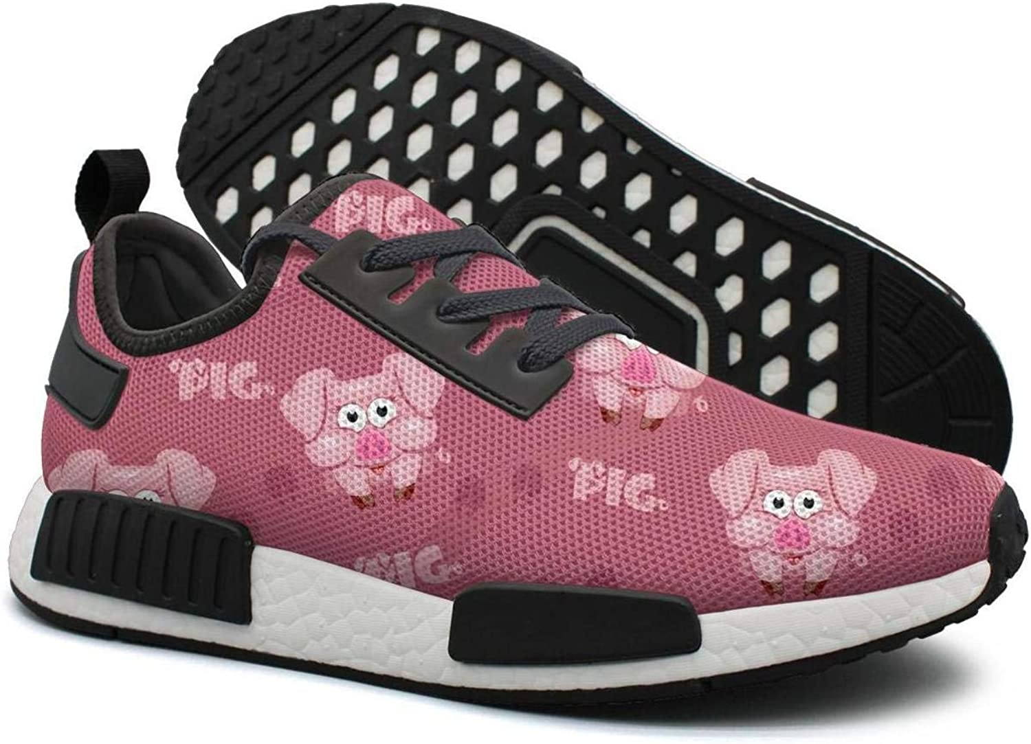 Square Cartoon Pig with Pink Footprint Women's Designer Lightweight Sneaker Gym Outdoor Running shoes