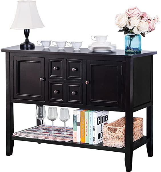 Mera Sideboard Console Table Buffet Table Sofa Table With Four Storage Drawers Two Cabinets And Bottom Shelf Black