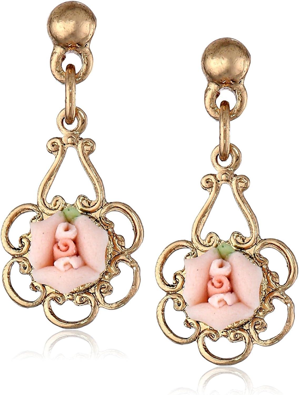 1928 Jewelry Porcelain Rose Drop Earrings