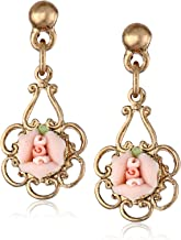 1928 Jewelry Porcelain Rose Drop Earrings