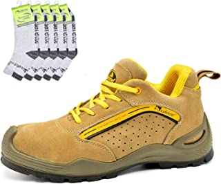 SAFEYEAR Breathable Leather Safety Shoes & Works Socks(5 Pairs)- 7296 Lightweight Site Safety Trainers with 4E Wide Fit St...
