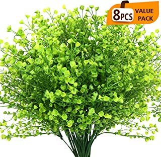 KLEMOO Artificial Shrubs Bushes 8 Pack Fake Outdoor UV Resistant Plants Flowers, Faux Plastic Bell Leaves Greenery for Indoor Outside Hanging Planter Home Office Wedding Farmhouse Decor (Green)
