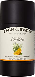 Each & Every All Natural Aluminum Free Deodorant for Men and Women, Cruelty Free Vegan Deodorant with Essential Oils, Non-Toxic, Paraben Free, Citrus & Vetiver, 2.5 Oz.