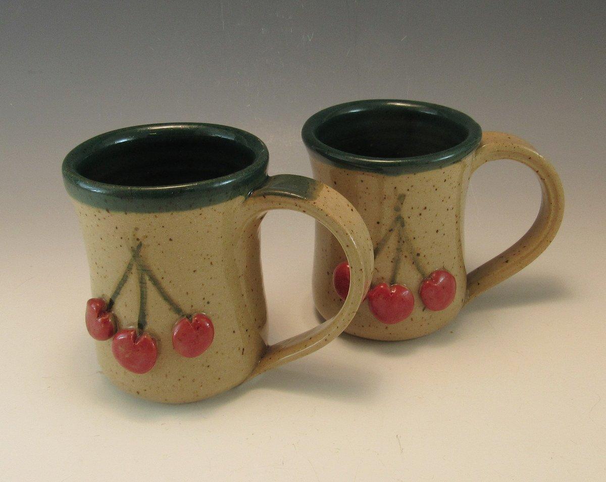 Set Columbus Mall of two Pottery Mugs 8-10 pottery Ounce Ma Hand Cherry 100% quality warranty