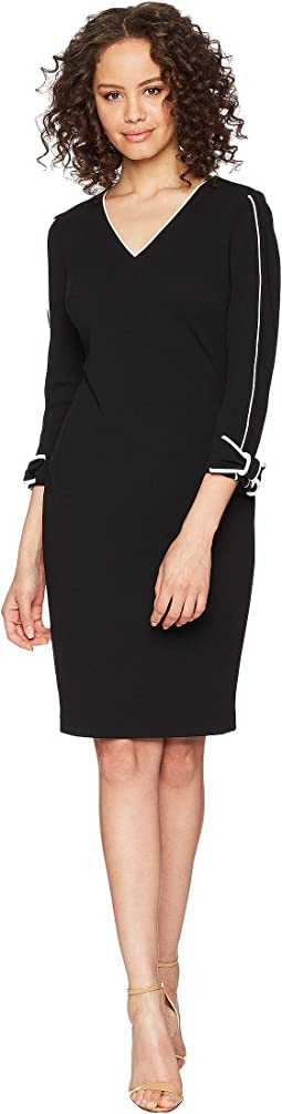 Calvin Klein Long Sleeve with Tie Cuff and Piping Detail Sheath Dress CD8C14LN