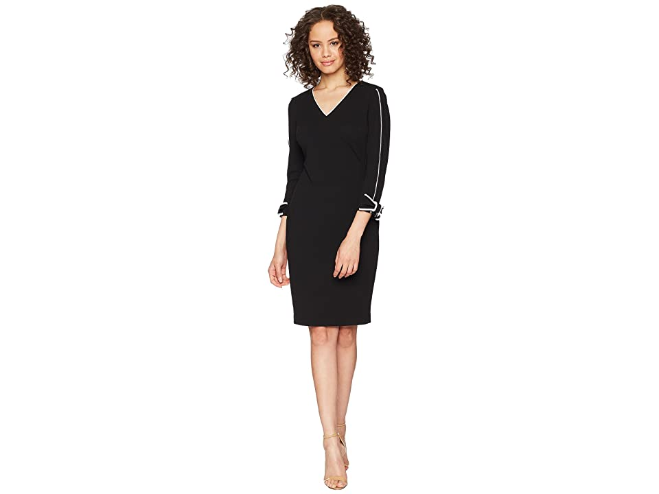 Calvin Klein Long Sleeve with Tie Cuff and Piping Detail Sheath Dress CD8C14LN (Black/White) Women