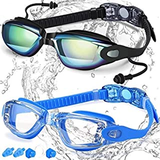Swim Goggles, Pack of 2, Swimming Goggles No Leaking Anti Fog UV Protection Triathlon for..