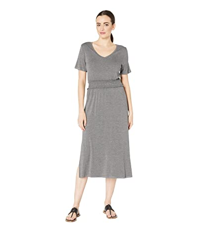B Collection by Bobeau Simone Short Sleeve Smocked Waist Dress (Charcoal) Women