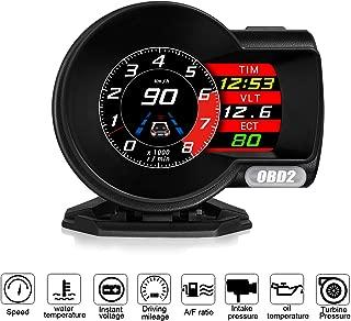 ACECAR F8 Universal Car HUD Head Up Display Digital OBD Speedometer OBDII EUOBD with Test Brake Test Overspeed Alarm HD LCD Refitting Code Table Display
