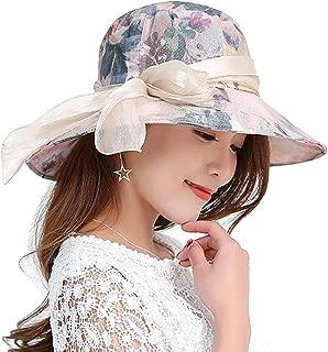 Surprise S Woman UPF 50+ Bucket Sun Hat Uv Preservation Cap Packable Bowknot Summer Hat Women Adjustable Fold-
