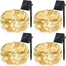 Solar String Lights 4 Pack, Ankway 100 LED Solar Fairy Lights 39 ft 8 Modes 3 Strands Copper Wire Lights Waterproof Outdoor String Lights for Garden Patio Christmas Tree Indoor Bedroom (Warm White)