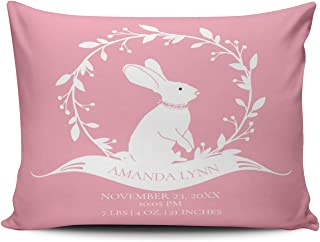 WEINIYA Home Decoration Design Pillow Case Pink and White Bunny Girls Baby Birth Stats Throw Pillowcase Custom Cushion Cover Standard 20X26 Inches One Sided Printed (Set of 1)