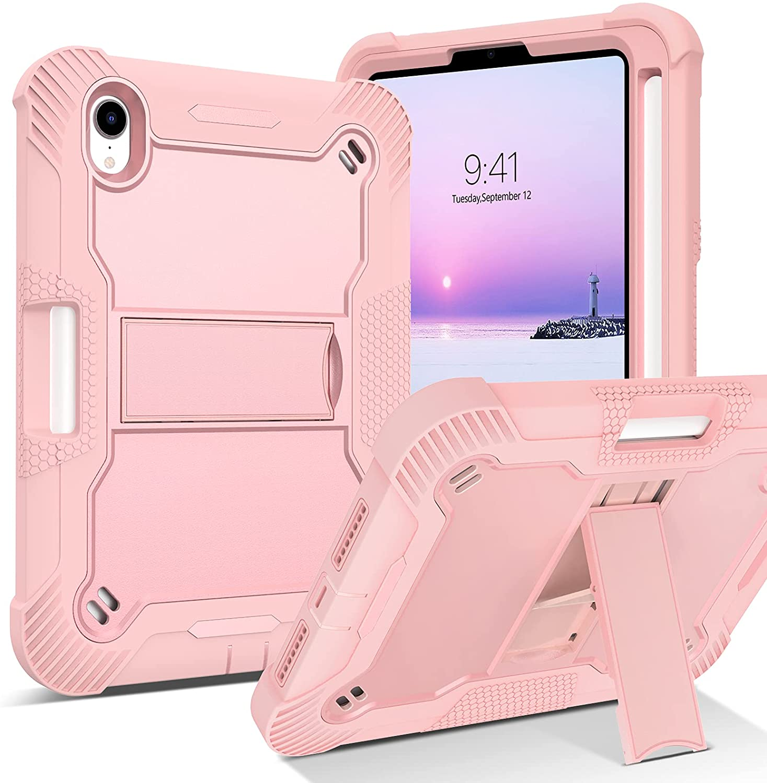 BENTOBEN iPad Mini 6 Case, 2021 iPad Mini 6th Generation Case with Pencil Holder 3 in 1 Heavy Duty Rugged Shockproof Kickstand Hybrid Bumper Protective Girl Women Boy Mini 6 Tablet Cover, Pink Design