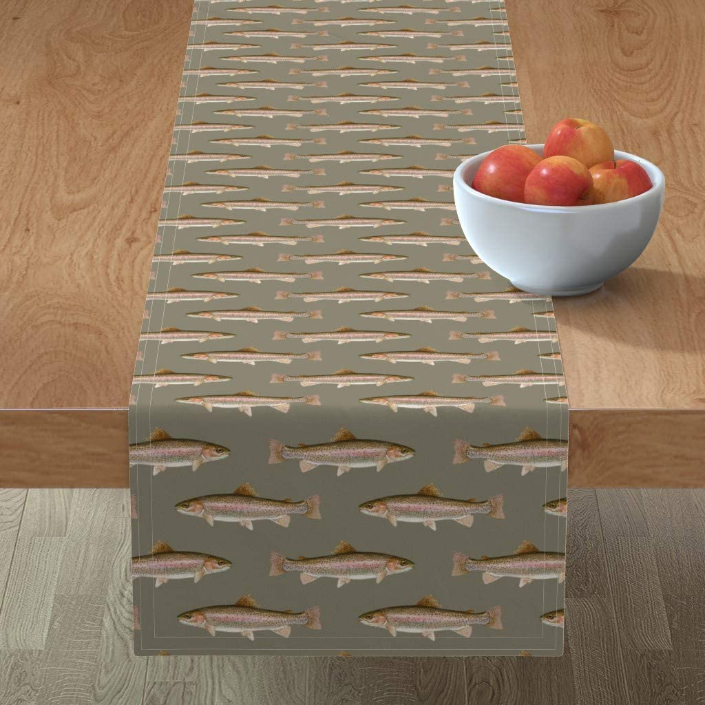 Roostery Spoonflower Tablerunner Max 67% OFF Rainbow Fish Fishin Trout Cheap super special price Grey