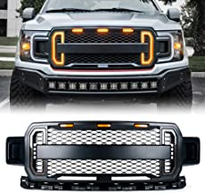Xprite Front Grill Raptor Style Grille for 2018-2019 Ford F-150 with White DRL & Amber Turn Signals Light