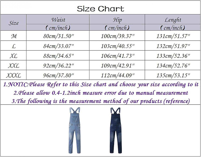 PHSHY Men's Classic Adjustable Straps Denim Bib Overalls Casual Slim Fit Full Length Skinny Romper Jumpsuit with Pockets