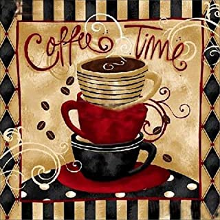 Coffee Time Diamond Painting Kits - PigBoss 5D Full Diamond Painting by Numbers - Crystal Diamond Embroidery Cross Stitch Coffee Kitchen Decor Art Gift for Adults (11.8 x 11.8 inches)