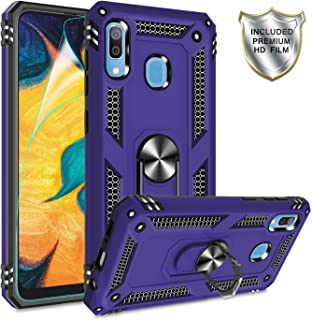 Gritup Galaxy A30 Case,Galaxy A20 Cases with HD Screen Protector, 360 Degree Rotating Metal Ring Holder Kickstand Armor Anti-Scratch Bracket Cover Phone Case for Samsung Galaxy A30/A20 Purple