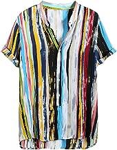 YKARITIANNA Mens Multi Color Lump Short Sleeve Round Hem Loose Shirts Blouse